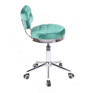 Židle VIGO VELUR na stříbrné základně s kolečky - zelená