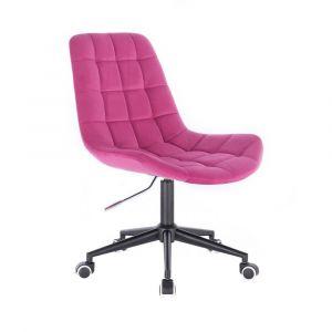 Kosmetická židle PARIS VELUR na černé podstavě s kolečky - růžová