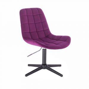 Kosmetická židle PARIS VELUR na černém  kříži - fuchsie