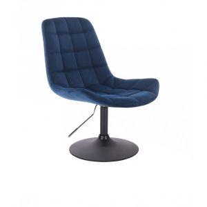 Kosmetická židle PARIS VELUR na černém talíři - modrá