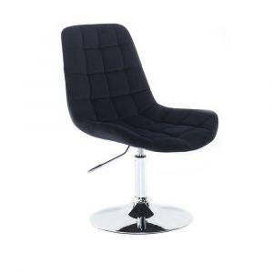 Kosmetická židle PARIS VELUR na stříbrném talíři - černá