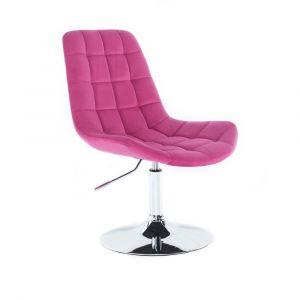 Kosmetická židle PARIS VELUR na stříbrném talíři - růžová