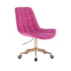 Kosmetická židle PARIS VELUR na zlaté podstavě s kolečky - růžová
