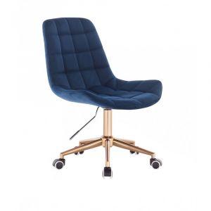 Kosmetická židle PARIS VELUR na zlaté podstavě s kolečky - modrá