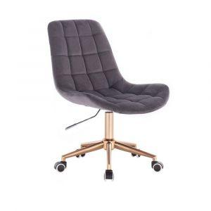Kosmetická židle PARIS VELUR na zlaté podstavě s kolečky - šedá