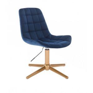 Kosmetická židle PARIS VELUR na zlatém kříži - modrá