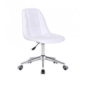 Kosmetická židle SAMSON na stříbrné podstavě s kolečky - bílá