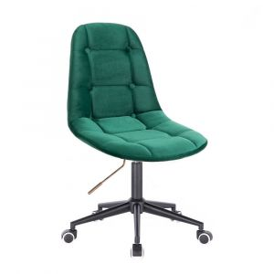 Kosmetická židle SAMSON VELUR na černé podstavě s kolečky - zelená