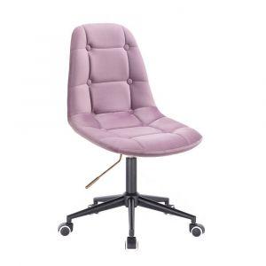 Kosmetická židle SAMSON VELUR na černé podstavě s kolečky - fialový vřes