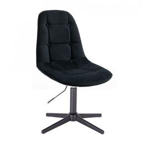 Kosmetická židle SAMSON VELUR na černém kříži - černá