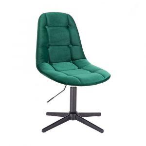 Kosmetická židle SAMSON VELUR na černém kříži - zelená