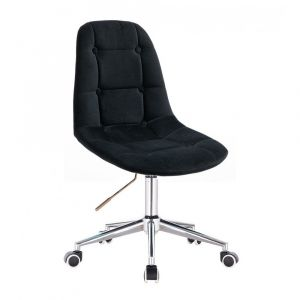 Kosmetická židle SAMSON VELUR na stříbrné podstavě s kolečky - černá