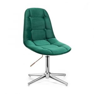 Kosmetická židle SAMSON VELUR na stříbrném kříži - zelená
