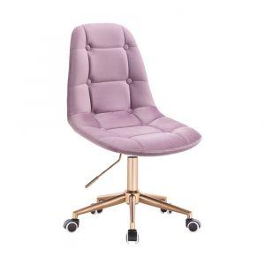 Kosmetická židle SAMSON VELUR na zlaté podstavě s kolečky - fialový vřes
