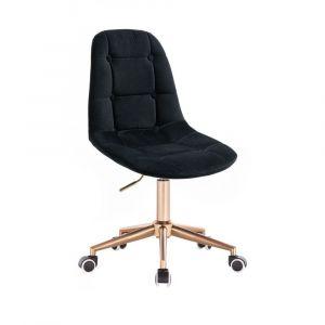 Kosmetická židle SAMSON VELUR na zlaté podstavě s kolečky - černá