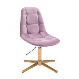 Kosmetická židle SAMSON VELUR na zlatém kříži - fialový vřes