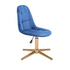 Kosmetická židle SAMSON VELUR na zlatém kříži - modrá