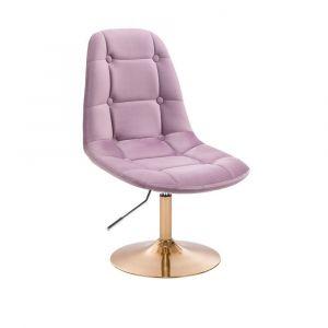 Kosmetická židle SAMSON VELUR na zlatém talíři - fialový vřes