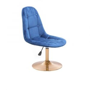 Kosmetická židle SAMSON VELUR na zlatém talíři - modrá