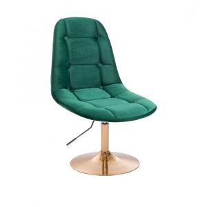 Kosmetická židle SAMSON VELUR na zlatém talíři - zelená