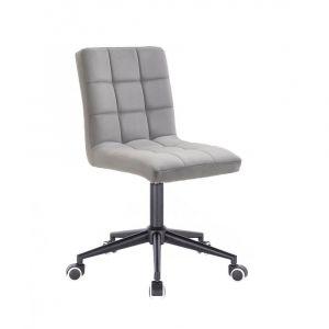 Kosmetická židle TOLEDO VELUR na černé podstavě s kolečky - světle šedá