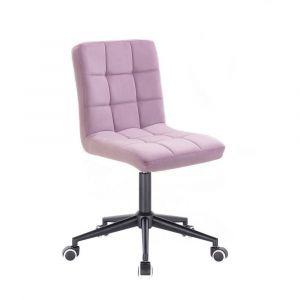 Kosmetická židle TOLEDO VELUR na černé podstavě s kolečky - fialový vřes