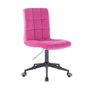 Kosmetická židle TOLEDO VELUR na černé podstavě s kolečky - růžová