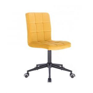 Kosmetická židle TOLEDO VELUR na černé podstavě s kolečky - žlutá