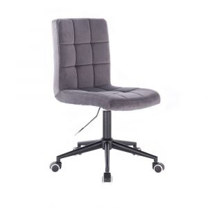 Kosmetická židle TOLEDO VELUR na černé podstavě s kolečky - tmavě šedá