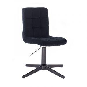 Kosmetická židle TOLEDO VELUR na černém kříži - černá