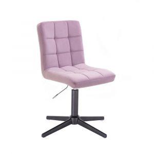 Kosmetická židle TOLEDO VELUR na černém kříži - fialový vřes