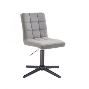 Kosmetická židle TOLEDO VELUR na černém kříži - světle šedá