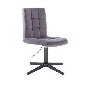 Kosmetická židle TOLEDO VELUR na černém kříži - tmavě šedá