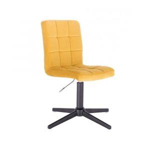 Kosmetická židle TOLEDO VELUR na černém kříži - žlutá