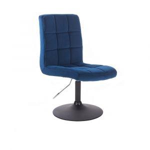 Kosmetická židle TOLEDO VELUR na černém talíři - modrá