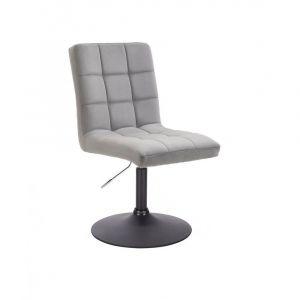 Kosmetická židle TOLEDO VELUR na černém talíři - světle šedá
