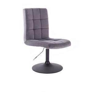 Kosmetická židle TOLEDO VELUR na černém talíři - tmavě šedá