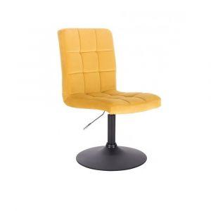 Kosmetická židle TOLEDO VELUR na černém talíři - žlutá