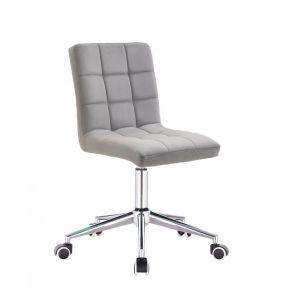 Kosmetická židle TOLEDO VELUR na stříbrné podstavě s kolečky - světle šedá