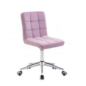 Kosmetická židle TOLEDO VELUR na stříbrné podstavě s kolečky - fialový vřes