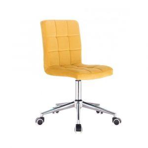 Kosmetická židle TOLEDO VELUR na stříbrné podstavě s kolečky - žlutá