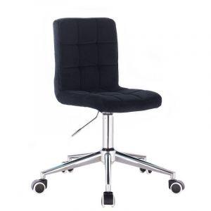 Kosmetická židle TOLEDO VELUR na stříbrné podstavě s kolečky - černá