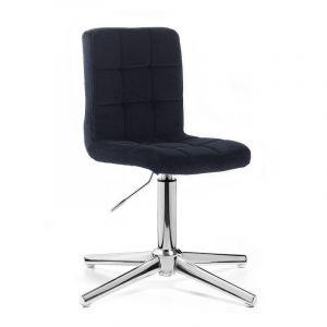 Kosmetická židle TOLEDO VELUR na stříbrném kříži - černá
