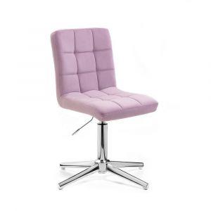 Kosmetická židle TOLEDO VELUR na stříbrném kříži - fialový vřes