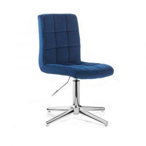 Kosmetická židle TOLEDO VELUR na stříbrném kříži - modrá