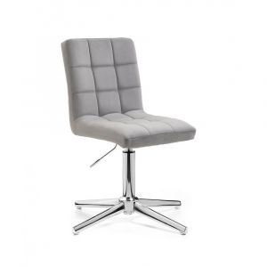 Kosmetická židle TOLEDO VELUR na stříbrném kříži - světle šedá