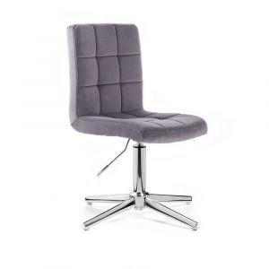 Kosmetická židle TOLEDO VELUR na stříbrném kříži - tmavě šedá