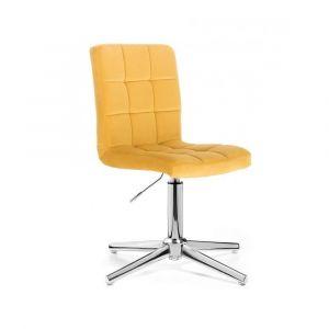 Kosmetická židle TOLEDO VELUR na stříbrném kříži - žlutá