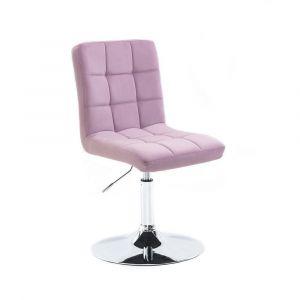 Kosmetická židle TOLEDO VELUR na stříbrném talíři - fialový vřes