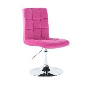 Kosmetická židle TOLEDO VELUR na stříbrném talíři - růžová